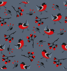 seamless winter pattern with bright bird vector image