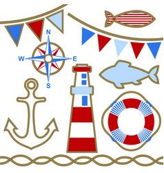 set nautical design elements vector image