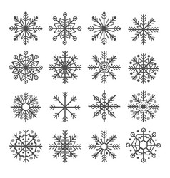 Set of isolated decoration snowflake vector