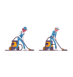set of male and female janitor vacuum cleaning vector image