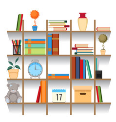 set of office accessories on shelf vector image