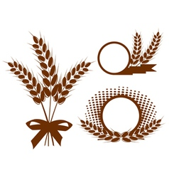 Set with ears of wheat vector image