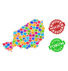Social network map of niger with message bubbles vector