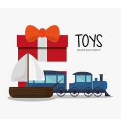 Train and sailboat toy and game design vector
