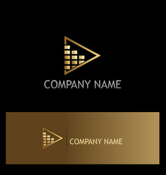 triangle gold square bar logo vector image