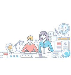 tutor - modern line design style vector image