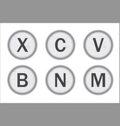 Typewriter keys xcvbnm vector