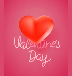 valentines day celebration banner with 3d heart vector image