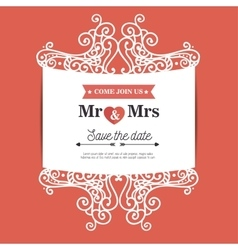 vintage wedding invitation orange background vector image