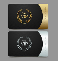 Vip golden and platinum card black vector