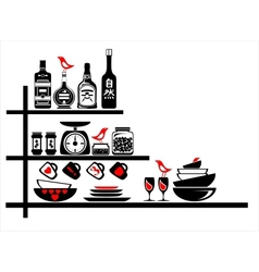 Wall stickers black and red kitchen shelves vector