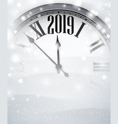 white blurred 2019 new year background with grey vector image