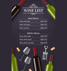 wine list with bottles glasses and corkscrew vector image