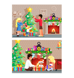 Winter holiday room family decorating christmas vector