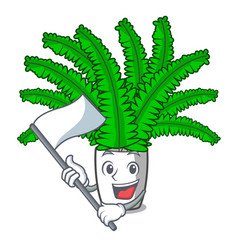 With flag fresh fern branch isolated on mascot vector