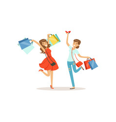 young happy women having fun with shopping bags vector image