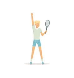 young tennis player standing with racket in hand vector image