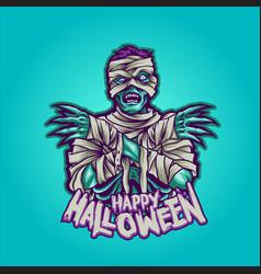 zombie mummy happy halloween vector image