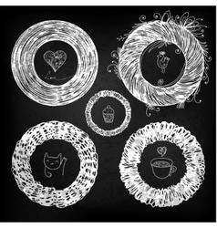 Chalkboard circle vignette vector image