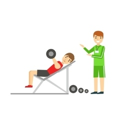 Man weight lifting with personal trainer member vector