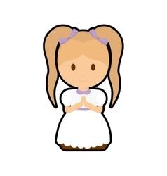 Pray girl kid religion icon vector