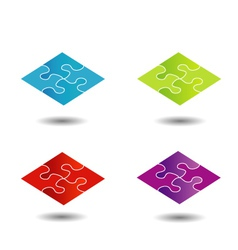 Puzzle in different colors- logo vector image