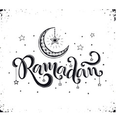 ramadan lettering with crescent vector image