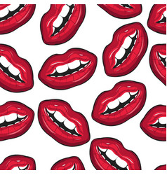 red female lips closeup seamless pattern mouth vector image
