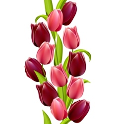 vertical seamless pattern with tulips vector image