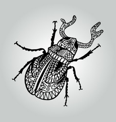 abstract doodle stag-beetle wildlife collection vector image