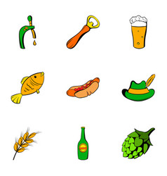 beer celebration icons set cartoon style vector image vector image