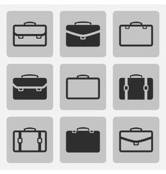 briefcase black icons set vector image