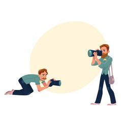 set of cartoon photographers at work vector image vector image