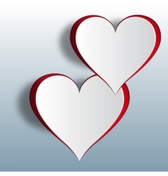 Two enamored hearts on a gradient background cut vector