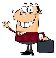 Businessman Waving A Greeting vector image