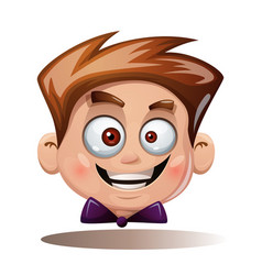 cartoon head boy funny smiley vector image