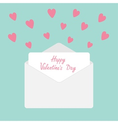Envelope with hearts Happy Valentines Day vector image
