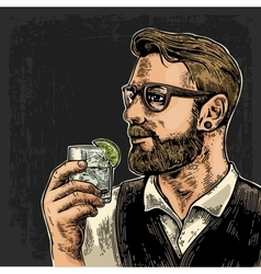 Hipster holding a glass of gin vector image