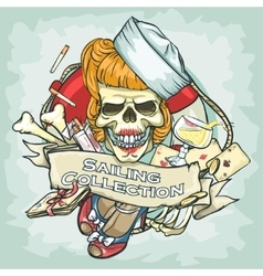 Pin up girl skull logo design - sailing collection vector