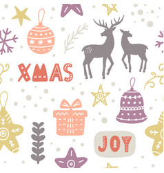 scandinavian christmas doodles seamless pattern vector image