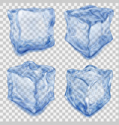 Set of transparent blue ice cube vector