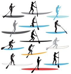 stand up paddle boarding sup vector image