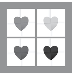 black and white heart set vector image vector image