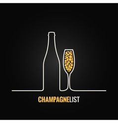 champagne glass bottle menu background vector image vector image