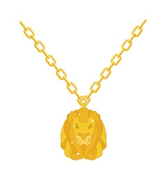 Golden lion necklace gold jewelry on chain vector image vector image