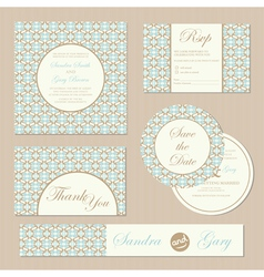 wedding invitations set vector image vector image
