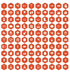 100 farm icons hexagon orange vector