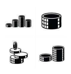 3d heap coins icons set vector
