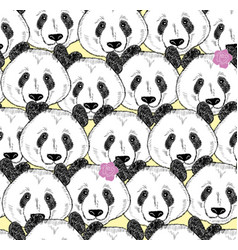 a lot of pandas seamless pattern vector image