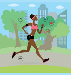 african american young and slim woman running vector image